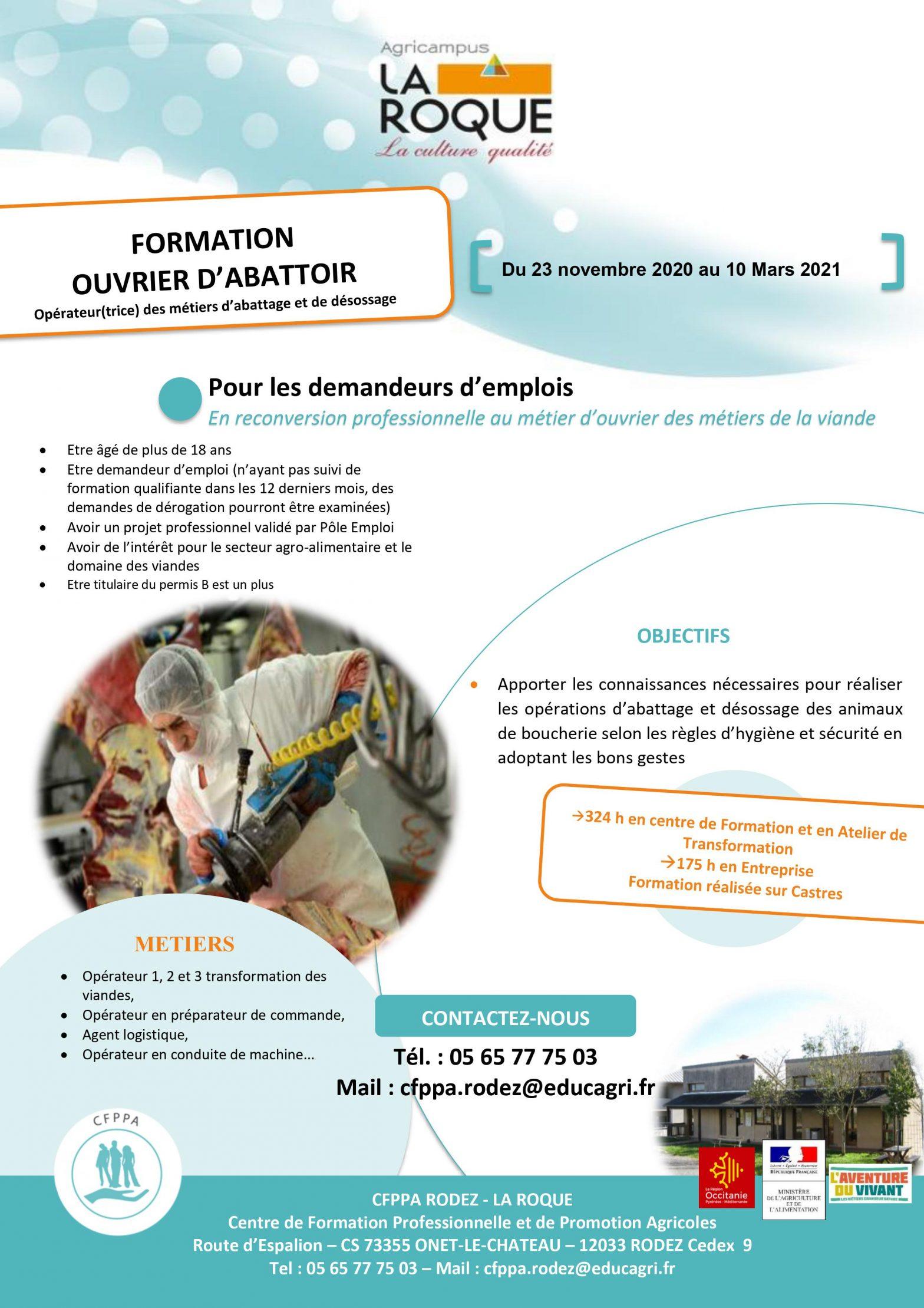Formation Ouvrier d'abattoir 2020 à Castres