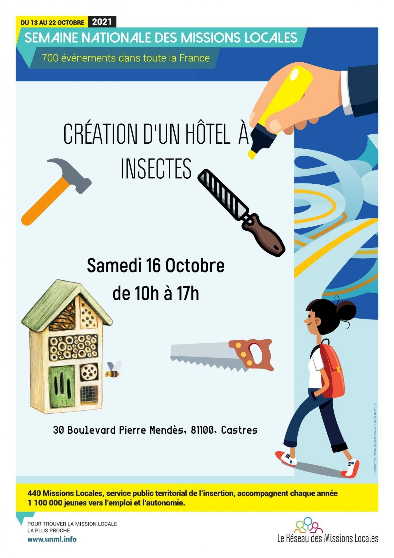CRÉATION D'UN HOTEL à INSECTES au Jardin partagé de l'Olivier le 16 octobre à Laden Castres