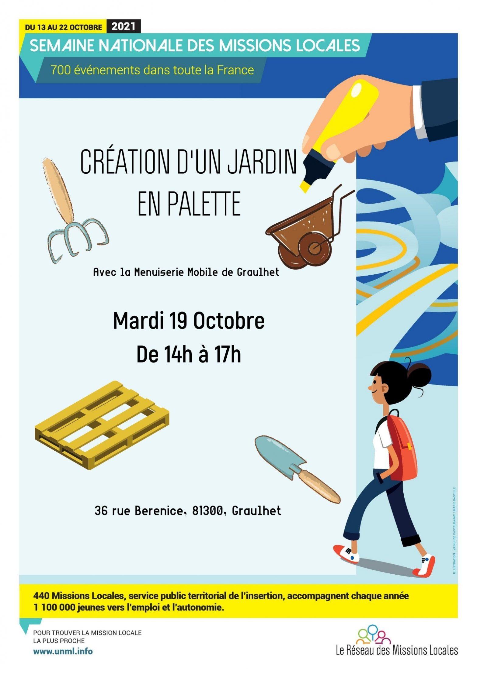 CRÉATION D'UN JARDIN en PALETTES le 19 octobre avec la Menuiserie Mobile à Graulhet